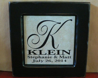 Custom Personalized Name plaque - tile in black frame - Wedding, Anniversary, Bridal shower, Mother's Day Gift