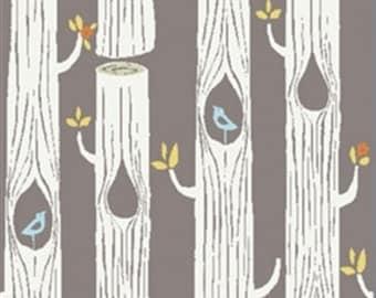 Organic Cotton KNIT Fabric - Birch Circa 52 Knits - Tree Stripes Shroom