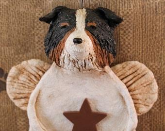 Australian Shepherd Angel, handmade from papier mache, AUSTRALIAN SHEPHERD