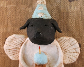 Black Lab Birthday Angel, OOAK, handmade from papier mache, Black Lab Birthday