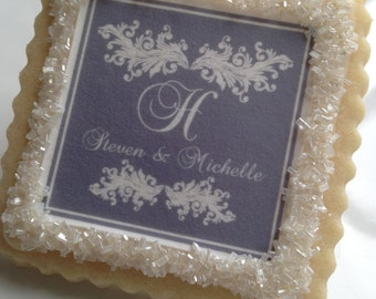 charcoal scroll custom wedding cookies -- 1 dozen
