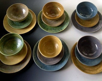 NEW Earthy colors, place settings, six colors, set of six place settings, dinnerware by Leslie Freeman