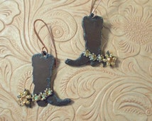 Western Rodeo Cowgirl Boot Earrings with Golden Topaz Swarovski Crystal Spur Straps