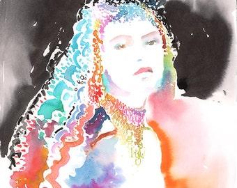 Original Watercolour Painting, Fashion Illustration. Titled: Royal