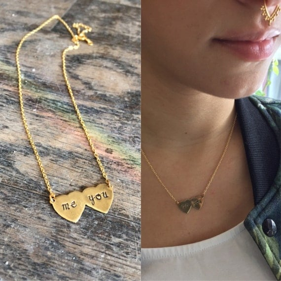 Me & You - Hand Engraved Double Heart Charm Necklace