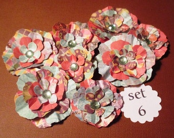 Paper Scrapbook Flower and Card Embellishments (set of 8)