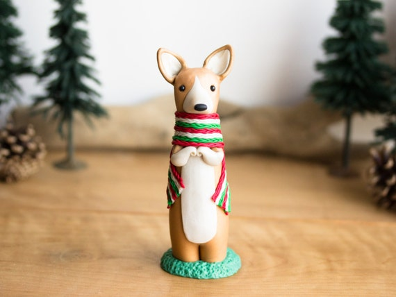 Corgi Figurine with a Welsh Scarf by Bonjour Poupette