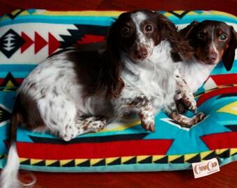 Native Southwestern Geo Turquoise Dog Bed, BUNBED, Dachshund Dog Bed, Small Dog Bed, Aqua, Yellow, Red Geo Plush Fleece Dog Bed, Burrow Bed