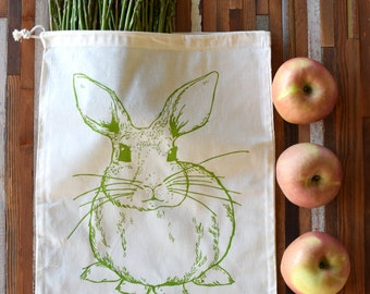 Reusable Produce Bags - Screen Printed Natural Cotton Produce Bags - Eco Friendly - Bulk - Produce - Grocery Bag - Rabbit - Farmers Market