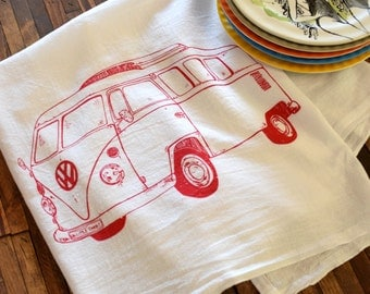 Tea Towel - Screen Printed Flour Sack Towel - Volkswagen Bus - Eco Friendly Dish Towel - Kitchen Towel - All Natural Cotton - Flour Sack