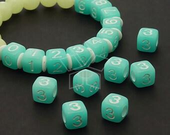 LR-056-BL / 10 Pcs - Numeric Luminous Beads, Phone Number Bead, Anniversary Date, Number Three, 3, BLUE Square / 7mm