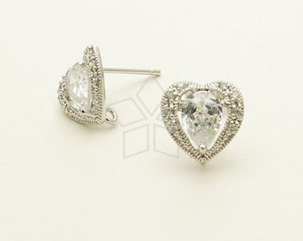 SI-635-OR / 2 Pcs - Jewel Heart CZ Stud Earrings, Silver Plated, with .925 Sterling Silver Post / 10mm x 10mm