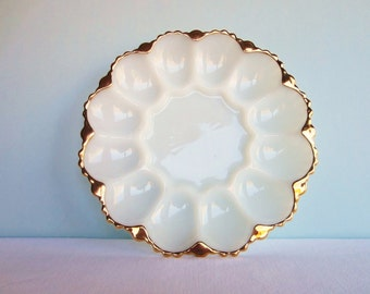 Vintage Milk Glass Gold Trimmed Egg Plate - Round Egg Platter