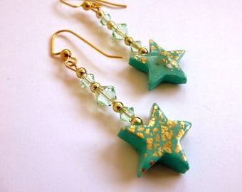 Mint Green Star Dangle Earrings Polymer Clay Earrings Hand Made