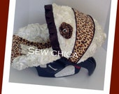Ivory Satin 3D Roses/Leopard Minky Infant Baby Car Seat Cover w Bling Flower~Ready to Ship