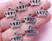 Silver Crown Charms (8pcs / 15mm x 13mm / Tibetan Silver) Princess Jewellery Crown Drop Bracelet Necklace Earrings Favor Decoration CHM1782