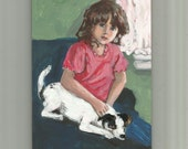 """Original Painting,Girl and little dog,small acrylic painting 5 X 7,room decor,""""Hannah and Garbo"""""""