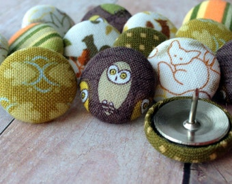 Thumbtacks,Pushpins,15 Push Pins,Thumbtacks,Thumb Tacks,Home Office,Office Supplies,Teacher Gift,Coworker Gift,Gift,Owls and Foxes