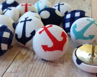 Anchors,Red and Aqua,15 Pushpins,Push Pins,Thumbtacks,Thumb Tacks,Nautical Push Pins,Nautical Decor,Red and Aqua Pushpins,Anchor Pushpins,