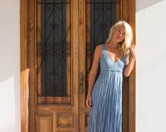 Long Blue Linen Dress / Faded Denim / Maxi / Summer Dress / Pure Linen / Crinkled Linen / Boho Beach Dress / Hand Made
