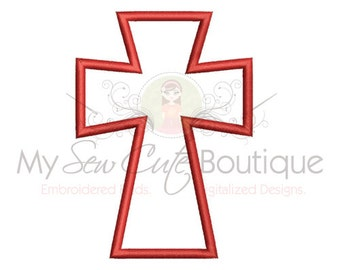 Religious Cross Applique Design Digitized Machine Embroidery Design - 12 Sizes - Instant Download
