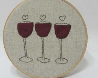 Wine Glass Wine Love Hearts Wine Lover Hoop Art Minimalist Whimsical Art Hostess Gift