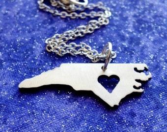 I Heart North Carolina - Necklace Pendant or Keychain