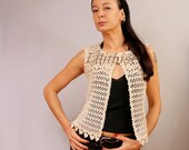 Ivory Vest Crochet Lace Vest Linen Tunic Vest Boho Hippie Vest Crochet Top Sleeveless Cardigan Summer Cover Up Women One Size Flower Top