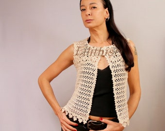 Ivory Vest Crochet Lace Vest Linen Tunic Vest Boho Hippie Vest Crochet Top Sleeveless Cardigan Summer Cover Up Women One Size Flower Top