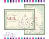 A Baby is Brewing Tea Party Invitations Set