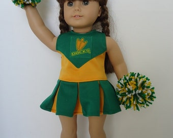 University of Oregon Ducks Cheerleader, gym shoes, pompoms fit American Girl Doll