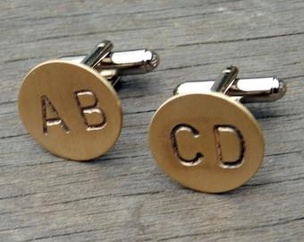 Monogram Letter Cuff Links - CUSTOM Personalized Cufflinks - Hand Stamped Brass, Any 2 LETTERS, Initials, WEDDING Cuff Links Groomsmen Groom