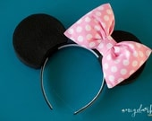 Minnie Mouse inspired Dress Up Costume Mouse Ears, Pink Polka Dot...Made to Order