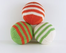 Set of Stuffed Balls- Green, Orange and Cream