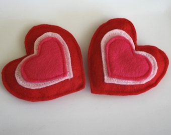Cat Toy- 2 Sweetheart Catnip Felt Hearts, cat toys, natural catnip,-catnip toys, felt cat toys, cat toy set, cat gift, Valentine's Day