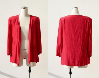 1980's vintage Pancaldi &B red silk jacket, Italian designer silk blouse