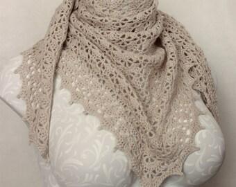 Crocheted Shawl Wrap in Beautiful Beige