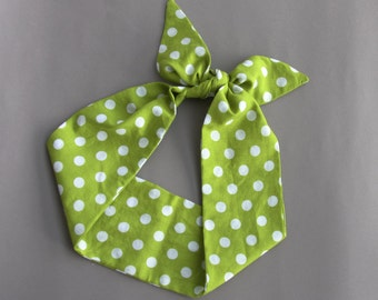 Pin up head wrap green headband polka dot head scarf dolly bow headband retro headwraps tie up bandana women hair wraps / CYNTHIA /