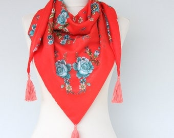 Floral summer scarf coral red tassel scarf turkish scarves triangle vegan summer shawl