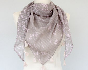 Gray bandana scarf cotton tassel scarf floral print scarf triangle boho scarf summer scarves spring fashion scarf women gift for her / ACE /