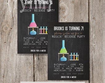ROCKIN SCIENCE PARTY - Scientist - Girl or Boy option - Party Printable Party Invitations - I design - You Print