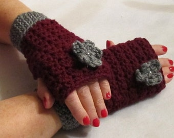 Handwarmers....Fingerless Gloves....with a Fabulous Flower...Burgundy and Grey