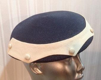 Vintage Straw Navy Beige Pill Box Button Hat Excellent 50 60s