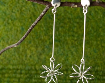 Silver Earrings - Petite Floating Flower Silver Earrings - Dangling Post (50.129.1) - Perfect Birthday gift for mom