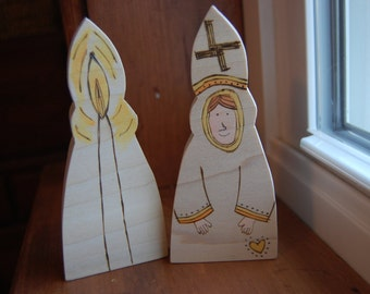 St. Brigid (double-sided wooden Irish saint figure for Candlemas, St. Brigid's Day)