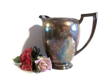 Vintage Water Pitcher, Berwick WM A Rogers 7997, Shabby Cottage Chic,  Rustic Decor,  Wedding Decor , Farmhouse Decor, Metal Pitcher
