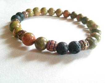 Mens gemstone stretch bracelet-unakite stretch bracelet- yoga bracelet