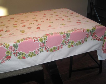 Mid-Century White Linen Tablecloth in Pink-Red-Green Floral Design-Rectangle 60x49 White & Pink Vintage Tablecloth Party/Wedding Tablecloth