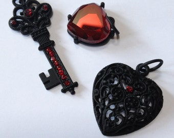 Key To My Ruby Heart - Red Rhinestone and Black Filigree Heart and Key Pendant Set - 3 piece set