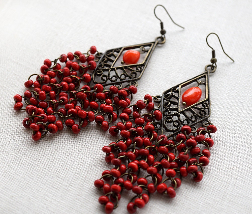 Red Coral Chandelier With 3 Lights: Red Chandelier Earrings Red Coral Earrings Tribal Chandelier